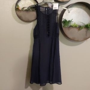 Free People sz 4 Navy & black lace detailed dress